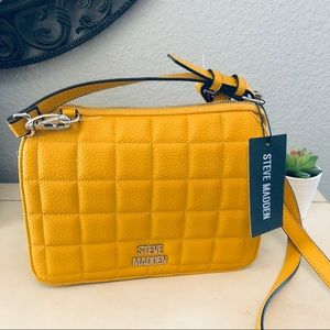 Steve Madden mustard yellow quilted crossbody bag